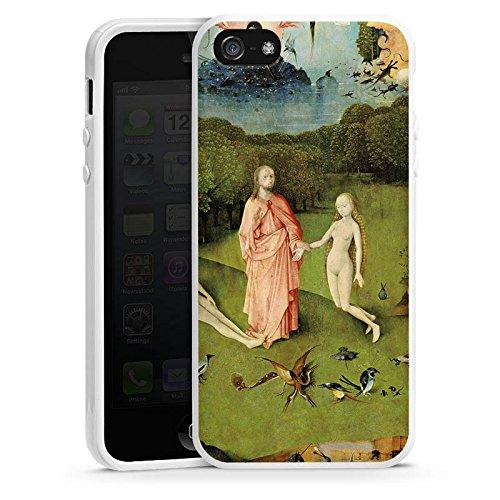 Apple iPhone 5 Housse Étui Silicone Coque Protection Le jardin d'Eden Adam et Ève Art Housse en silicone blanc
