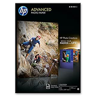 HP Q8698A A4/210 x 297 mm Advanced Glossy Photo Paper 250 gsm, 50 Sheets,White
