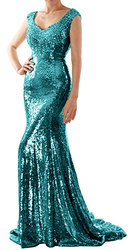 MACloth Women Mermaid Sequin Long Prom Dress Formal Evening Wedding Party Gown (EU44, Teal)