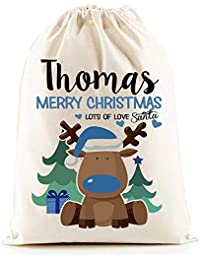 Personalised Santa Sacks (Reindeer Boys Christmas)