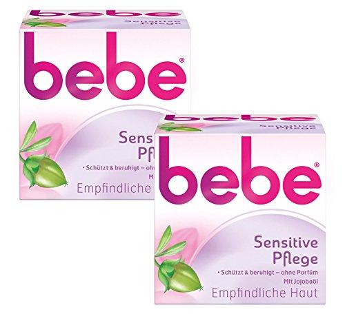 Jojobaöl Haut (bebe Sensitive Pflege / Beruhigende Feuchtigkeitscreme für empfindliche Haut mit Jojobaöl / 2 x 50ml)