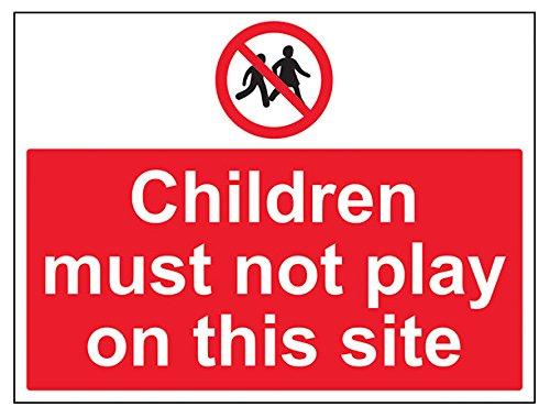 vsafety 52041bf-r Kinder müssen nicht Seite Spielen auf diesem Verbot Zugang Zeichen, starrer Kunststoff, Landschaft, 400mm x 300mm, schwarz/rot