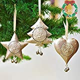 Valery Madelyn 11-12cm Metall Weihnachtsdeko Anhänger 6er Set Weihnachtsanhänger Weihnachtsdekoration hohles Herz Stern Weihnachtsbaum zum Aufhängen Funkelnder Winter Thema für Christbaumschmuck