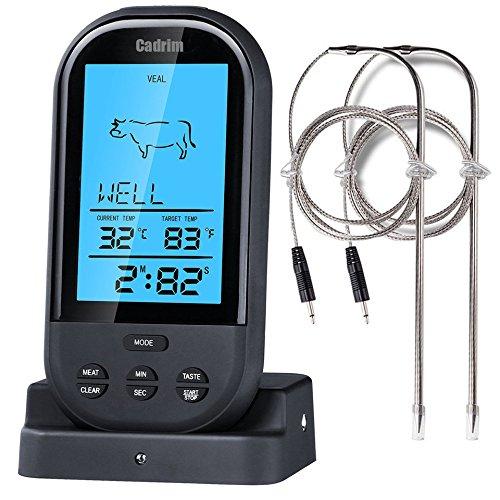 Wireless Barbecue Thermometer,Cadrim Bratenthermometer Digital BBQ Grill Thermometer,Ofenthermometer mit großes Display & Funk-Empfänger, Zeitmesser voreingestellten BBQ Temperaturen für das Kochen,Grill,Backofen,Fleisch ,Türke,Steak