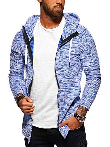 behype. Herren Strick-Jacke Sweat-Jacke Sweatshirt Hoodie Pullover mit Kapuze 40-5713 Blau L