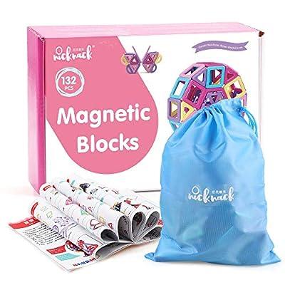 Bloques de construcción magnéticos,132 Piezas Juegos de Viaje Construcciones Magneticas Kits de apilamiento Juguetes, niños Juguetes Regalo con Bolsa portátil para 3 4 5 6 años Niños y niñas de nicknack