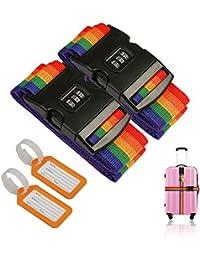 ZoomSky 2pcs Correas de Equipaje de Bloqueo de contraseña de Color Iris de Correa cinturón de Maleta para reconocer fácil el Equipaje
