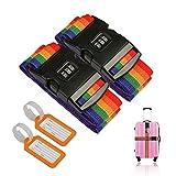 2 pezzi Cinghia da viaggio ZoomSky Cinture per valigie Cinghia da viaggio regolabile Cinghie di sicurezza per bagagli con password Lock Clip e 2 Pz Etichette per bagaglio Etichette Identificatore