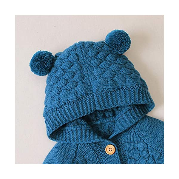 Tianhaik Bebé bebé de Punto de Ganchillo Abrigo Chaqueta con Capucha Outwear otoño Invierno suéteres Cardigan 3