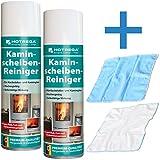 Hotrega Kaminscheibenreiniger 2er Set 600ml + 2x Microfasertuch Kamin Scheiben Schaum Reiniger Spray