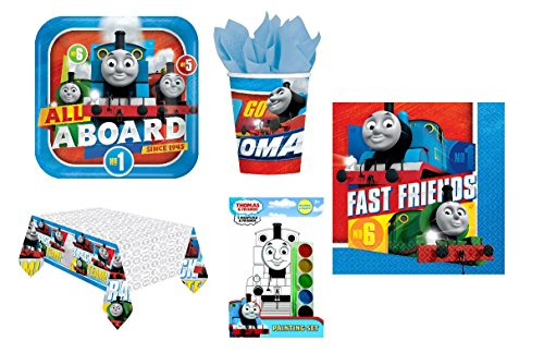 Star Online Thomas And Friends Party Pack For 16 - Plates, Cups, Napkins, and Tablecover