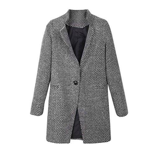 Amlaiworld Manteau Veste Blouson Femme, Slim Hiver Chaud Pardessus Revers Laine Manteau Long Trench Parka Jacket Outwear (XL, Noir)