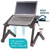Wonder Worker Einstein Table pour Ordinateur Portable pour Lit avec Ventilateur USB - Noir - Support Souris - Léger Aluminium