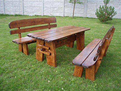 Timberline Sitzgruppe Natura 150 cm rustikal Outdoor Gartenmöbel, Farbe:Teak;Material:Eiche