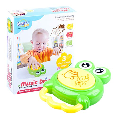 Jopee Kleinkind & Baby Musical Drum Instrument - kleinkind spielzeug 1 jahr Percussion Frosch Spielzeug Fun Toddlers Spielzeug mit Doppel-Sound Drum Rhythm Kinder Früherziehung Handtrommel