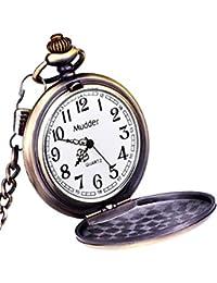 Mudder Reloj de Bolsillo Clásico de Acero Bronce para Hombres