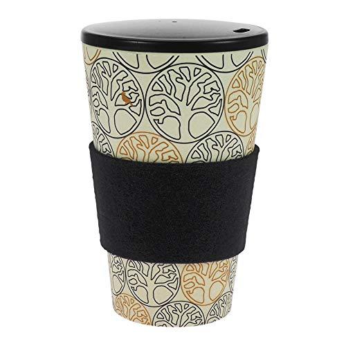 ebos Coffee-to-Go-Becher aus Bambus   incl. Schraubdeckel   verschiedene Designs