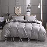 DOLPHIN's TEXTILE 3pcs Duvet Cover Set solide Farbe hypoallergene Plain Brushed Bedding Set Microfiber Plain reversisible Beding Kollektion,Gray,twin135x200cm