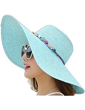 fablcrew sombreros gorra de paja Jazz Sombrero Color sólido gorra de ala ancha plegable playa para vacaciones...