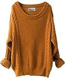 LinyXin Damen Winter Kaschmir übergroße Pullover Kleid Gestrickte Lose Langarm Rundhalsausschnitt Warmer aus Wolle Oversized Pullover (Kurkuma)