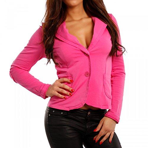 Made Italy - Veste de tailleur - Blouson - Uni - Manches Longues - Femme rose bonbon