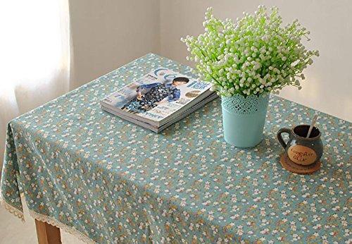 Faser-ergänzung Pillen (Blumenmuster mit Spitze Rechteckige Baumwoll-Leinen Tischdecke Handtuch Couchtisch Home Küche Wohnzimmer Dekor Zubehör 7 Größen 2 Farben , Green , 140*180cm)