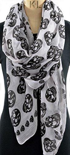 Foulard Tete De Mort blanc et noir 175X80 Cm, Nouvelle Collection, Skull Scarf.