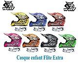 Casque moto enfant WULF FLITE-EXTRA ENFANTS CASQUE Moto Quad MX VTT Sports hors route Casque ECE + X1 Lunettes blanc (Orange, M)