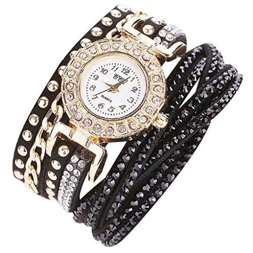 Coolster Damen Multilayer Armband Rhinestone Leder Casual Uhr -CCQ (CCQ /C84 Schwarz)
