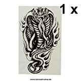 Cobra - Tatuaje de Serpiente, Tatuaje Temporal, Negro, AX94, Negro, 1 x Cobra Tattoo