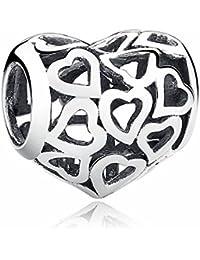 4ca50a85d887 SCC024 - Colgante de plata de ley 925 con forma de corazón y esqueleto para  mujer