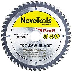 NOVOTOOLS Lame de scie circulaire à bois 190 x 30 mm x 48 dents pour scies Festool, Bosch, Makita, DeWalt etc.