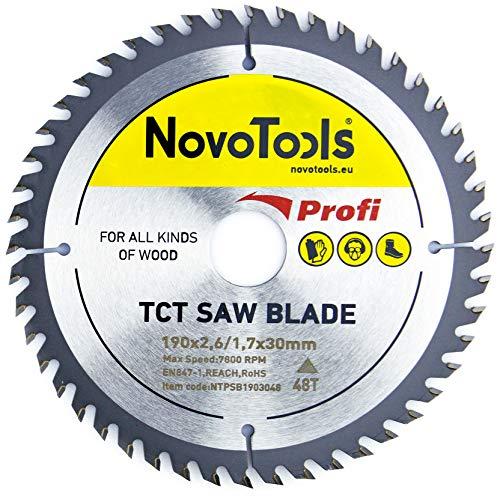 NOVOTOOLS Kreissägeblätter 190 x 30 mm x 48 Zähne zum Sägen in Holz für Handkreissägen. Profi Qualität