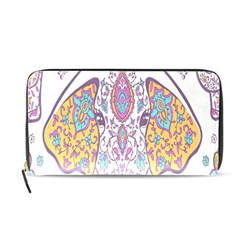 Mandala Geometric Style Elefant Lange Passport Clutch Geldbörsen Reißverschluss Geldbörse Handtasche Geld Organizer Tasche Kreditkarteninhaber Für Dame Frauen Mädchen Männer Reise Geschenk