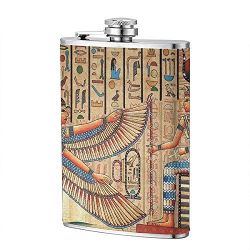 dfegyfr Alte ägyptische Malerei Flachmann 8 Unzen 304 Edelstahl Leder Wrap Trinkflasche Flagon für Whisky Liquor