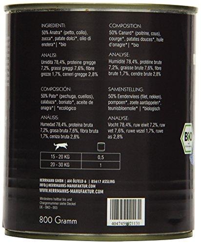 Herrmanns Bio Hundefutter Ente Menu 1 mit Süßkartoffel, Kürbis, Nachtkerzenoel 800 g, 6er Pack (6 x 800 g) - 3