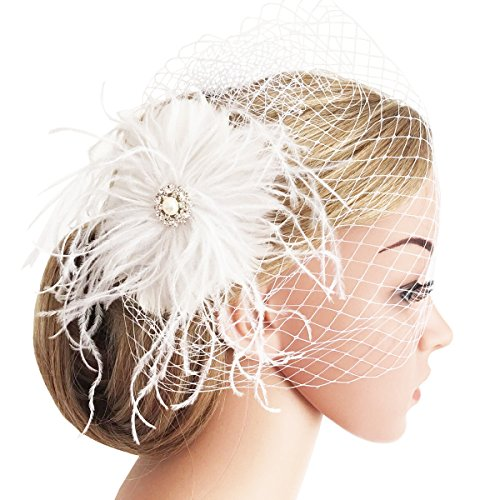 Fascinator Haarspange Hochzeit Braut Fascinator Schleier Showgirl Haarclip Gatsby Accessoires Damen Elegant Kopfstück Haar Zubehör (Weiß Stil 2) (Showgirl Hüte)