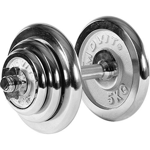 MOVIT® Chrom Gusseisen Kurzhantel Set, Varianten 1x15 bis 1x30 kg, Stangen gerendelt mit Sternverschlüssen Chrom-Hantel-Set