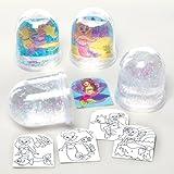 Kits de boules à neige sirènes que les enfants pourront fabriquer, personnaliser et exposer - Kit de loisirs créatifs pour enfant spécial été (Lot de 4)
