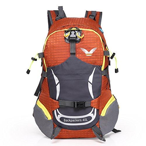 sfeibo 40L zaino in nylon impermeabile outdoor sport ciclismo campeggio arrampicata zaino stampa borsa da viaggio escursionismo Confezione, Green Orange