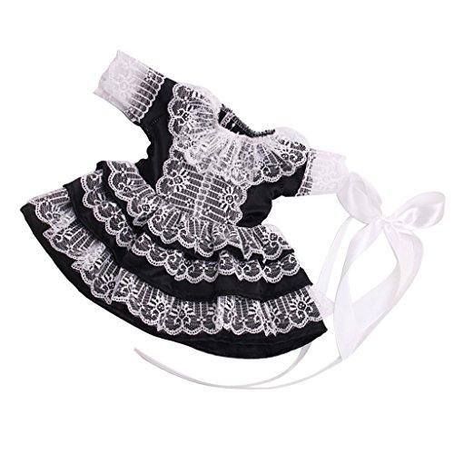 Homyl Elegante Puppen Abendkleid Spitzenkleid Prinzessin & Haarband Outfit Set Für 18'' American Girl Puppe - Schwarz