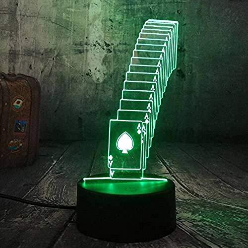 Täuschungs 3d Lampe Poker Spielkarten Würfelspiel-Party 3D-Nachtlicht-LED Tisch Schreibtisch Schlaflampe Wohnkultur Teens Spielzeug Geburtstag