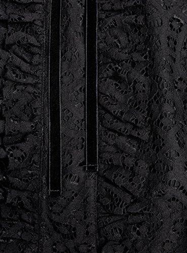 oodji Collection Femme Robe Combinée avec Haut en Dentelle et Jupe en Smili Cuir Noir (2900N)