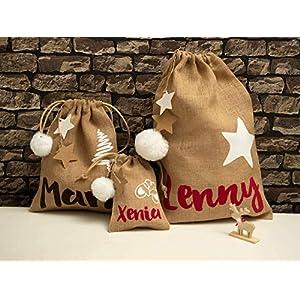 Jutesäckchen Weihnachten Nikolaussäckchen mit Name Nikolaus Sackerl Geschenktüte Jute Weihnachtstüte Geschenk