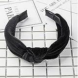 PoeHXtyy Damen Stirnband schwarz Schwarz 10x3cm