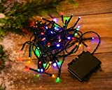 Tiras de 30/50/100luces LED impermeables de exterior con batería 8multifunción con temporizador; cadena de luces de fiesta, para jardín, multicolor; luces de hada brillantes; rojo cálido., multicolor, 50 Led Lights