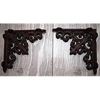 Homezone® Pair of Small Victorian Cast Iron Wall Shelf Brackets Supports. Heavy Duty Ornate Vintage Scroll Design Cast Iron Wall Brackets for Home and Garden. (Small Cast Iron Brackets)