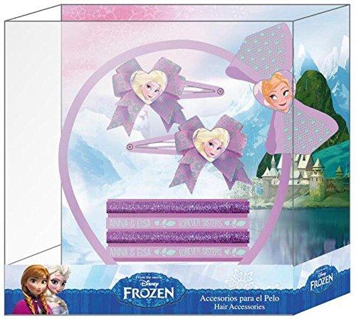 Elsa und Anna Haarschmuck Set 7 teilig mit Haarreifen Haargummi für guten Halt Frozen die Eiskönigin (7 Original Disney Prinzessinnen)