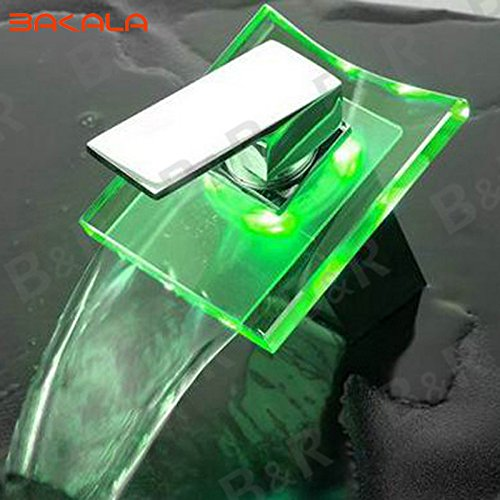 ng Kostenloser Versand Großhandel und Einzelhandel 3 LED-Farbe ändern Glas Wasserfall Armatur Wasserhahn Bad Waschbecken Waschtisch Mischer LH-8061 (Led Gläser Großhandel)
