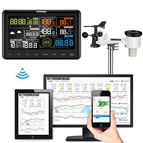 Sainlogic Profi WLAN Wetterstation - WiFi Internet Funk Wetterstation mit Außensensor, Regenmesser, Wettervorhersage,Windmesser, Farbdisplay, Wunderground